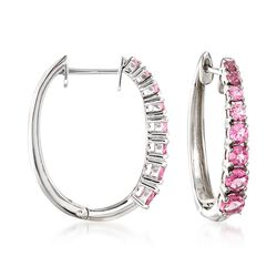 "1.80 ct. t.w. Pink Tourmaline Hoops in Sterling Silver. 7/8"", , default"