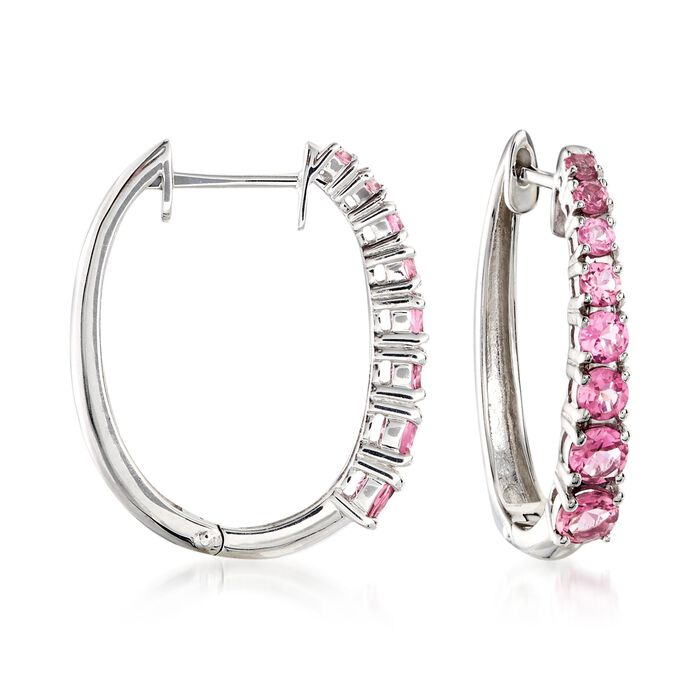 """1.80 ct. t.w. Pink Tourmaline Hoops in Sterling Silver. 7/8"""", , default"""