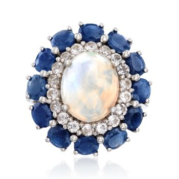 Opal and 2.20 ct. t.w. Sapphire Ring With White Topaz in Sterling Silver, , default