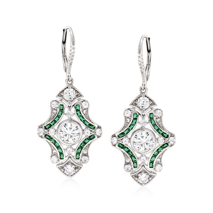 2.90 ct. t.w. CZ and .40 ct. t.w. Simulated Emerald Drop Earrings in Sterling Silver