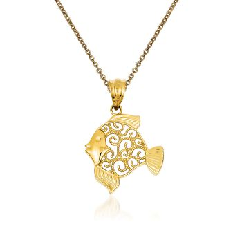"14kt Yellow Gold Fish Pendant Necklace. 18"", , default"