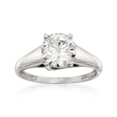 2.00 Carat Synthetic Moissanite Solitaire Ring in 14kt White Gold, , default