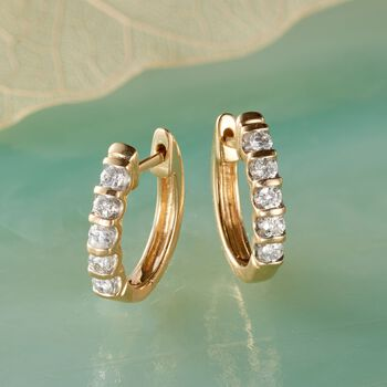".25 ct. t.w. Diamond Huggie Hoop Earrings in 14kt Yellow Gold. 1/2"", , default"