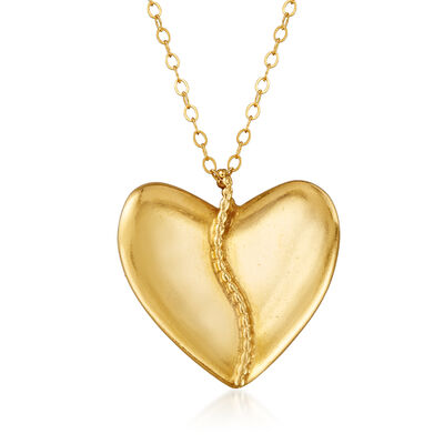 C. 1990 Vintage Heart Pendant Necklace in 18kt and 14kt Yellow Gold