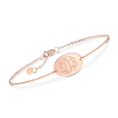 14kt Rose Gold Monogram Disc Bracelet, , default