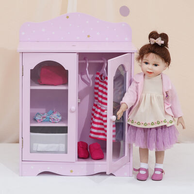 "Child's ""Twinkle Stars Princess"" Doll Fancy Closet with 3 Hangers"