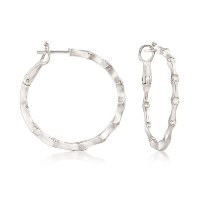 C. 2000 Vintage .50 ct. t.w. Diamond and 14kt White Gold Bamboo Hoop Earrings, , default