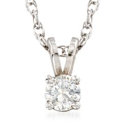 "C. 2000 Vintage .24 Carat Diamond Solitaire Necklace in 14kt White Gold. 18"", , default"