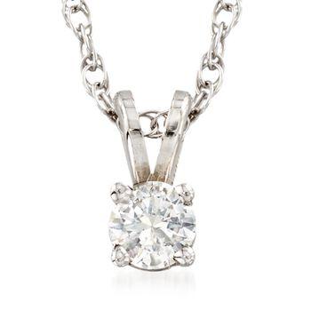 "C. 2000 Vintage .24 Carat Diamond Solitaire Necklace in 14kt White Gold. 18"", , default"