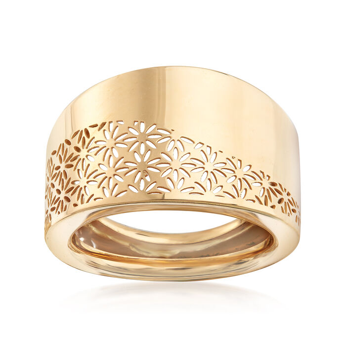 Italian Cut-Out Flower Ring in 18kt Yellow Gold. Size 5, , default