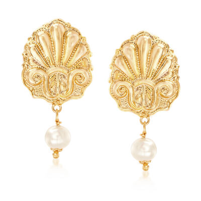 Italian Cultured Pearl Seashell Earrings in 18kt Yellow Gold Over Sterling, , default
