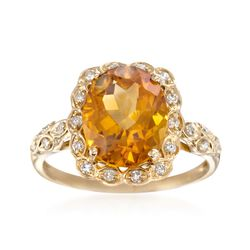4.20 Carat Citrine and .18 ct. t.w. Diamond Ring in 14kt Yellow Gold, , default