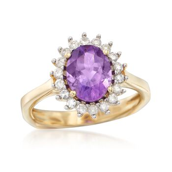 1.60 Carat Amethyst and .25 ct. t.w. Diamond Ring in 14kt Yellow Gold, , default
