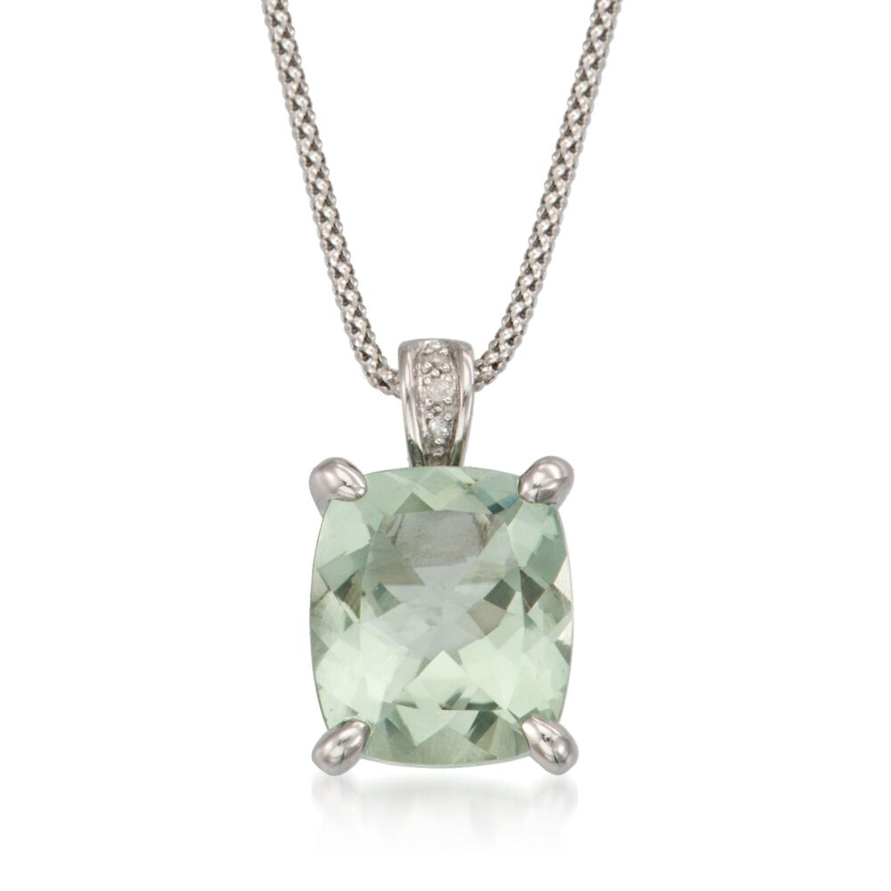 705 carat green amethyst pendant necklace with diamonds in sterling 705 carat green amethyst pendant necklace with diamonds in sterling silver 18quot aloadofball Image collections