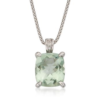 """7.05 Carat Green Amethyst Pendant Necklace With Diamonds in Sterling Silver. 18"""", , default"""