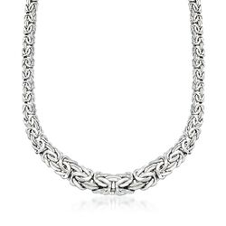 Sterling Silver Graduated Byzantine Necklace, , default