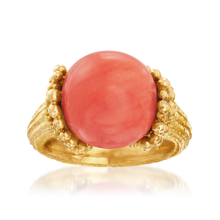 C 1970 Vintage Coral Beaded Ring in 18kt Yellow Gold. Size 5.5, , default
