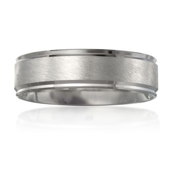 Men's 6mm 14kt White Gold Wedding Ring. Size 11, , default