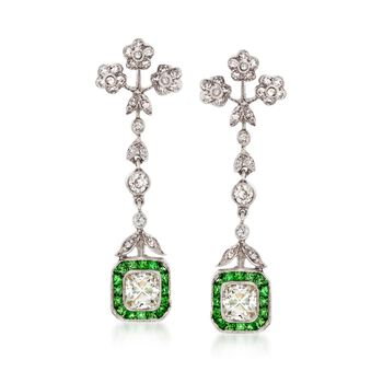 C. 1990 Vintage 1.00 ct. t.w. Tsavorite and 1.90 ct. t.w. Diamond Drop Earrings in 18kt White Gold, , default