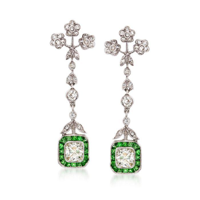 C. 1990 Vintage 1.00 ct. t.w. Tsavorite and 1.90 ct. t.w. Diamond Drop Earrings in 18kt White Gold, , default
