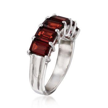 4.50 ct. t.w. Emerald-Cut Garnet Ring in Sterling Silver, , default