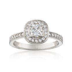1.10 ct. t.w. Diamond Halo Engagement Ring in Platinum, , default