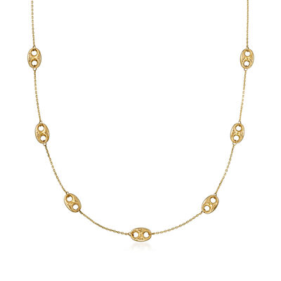 14kt Yellow Gold Mariner-Link Station Necklace