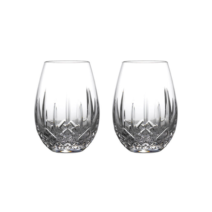 "Waterford Crystal ""Nouveau"" Set of 2 Lismore Stemless Glasses for Light Red Wine"