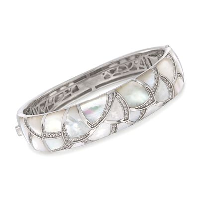 "Belle Etoile ""Sirena"" Mother-Of-Pearl and .80 ct. t.w. CZ Bangle Bracelet in Sterling Silver, , default"