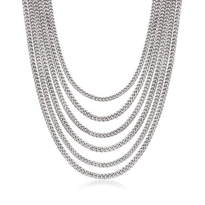 Italian Multi-Row Curb-Link Chain Necklace in Sterling Silver, , default