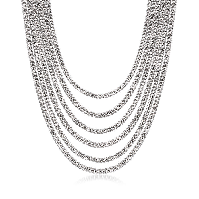"""Italian Multi-Row Curb-Link Chain Necklace in Sterling Silver. 18.25"""", , default"""