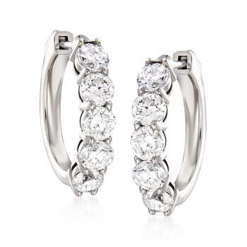 """3.00 ct. t.w. Diamond Hoop Earrings in 14kt White Gold. 3/4"""""""