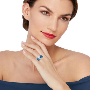 """Belle Etoile """"Marina"""" Sea-Blue Enamel and .95 ct. t.w. CZ Ring in Sterling Silver. Size 7"""