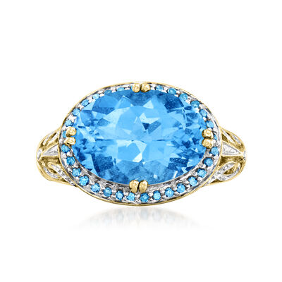 C. 1990 Vintage 7.75 Carat Swiss Blue Topaz Ring with .25 ct. t.w. Blue and White Diamonds in 14kt Yellow Gold