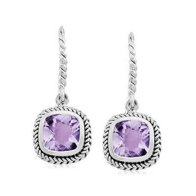 3.70 ct. t.w. Amethyst Roped Drop Earrings in Sterling Silver