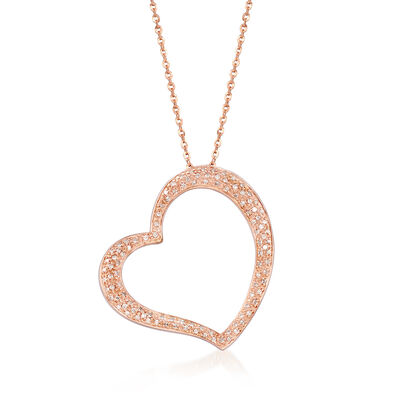 .30 ct. t.w. Diamond Open-Space Heart Pendant Necklace in 14kt Rose Gold, , default