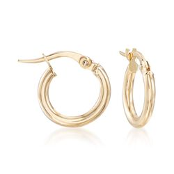 "Italian 2mm 18kt Yellow Gold Hoop Earrings. 1/2"", , default"