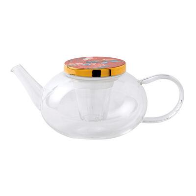 "Wedgwood ""Paeonia Blush"" Glass Teapot"