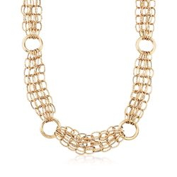 14kt Yellow Gold Multi-Chain Cable-Link Necklace, , default