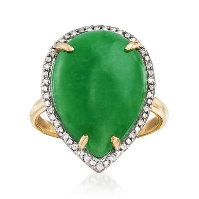 Jade and .10 ct. t.w. Diamond Ring in 14kt Yellow Gold, , default