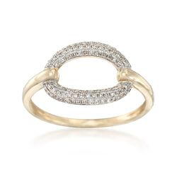 .20 ct. t.w. Pave Diamond Open Oval Ring in 14kt Yellow Gold, , default