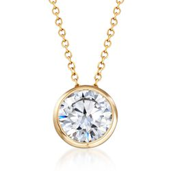 "1.75 Carat CZ Solitaire Necklace in 14kt Yellow Gold. 18"", , default"