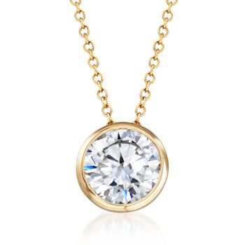 """1.75 Carat CZ Solitaire Necklace in 14kt Yellow Gold. 18"""", , default"""