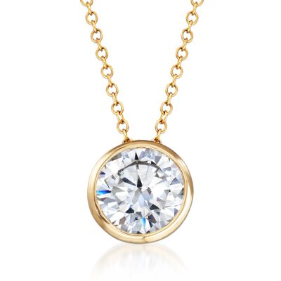 1.75 Carat CZ Solitaire Necklace in 14kt Yellow Gold, , default