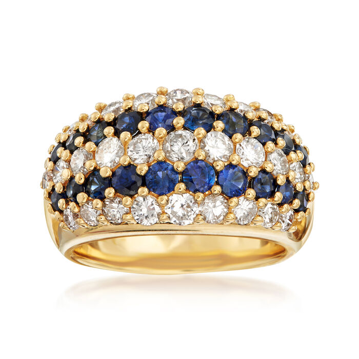C. 1980 Vintage 1.47 ct. t.w. Sapphire and 1.73 ct. t.w. Diamond Multi-Row Ring in 18kt Yellow Gold