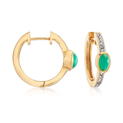 1.00 ct. t.w. Emerald Hoop Earrings in 18kt Gold Over Sterling, , default