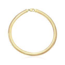 "10mm Italian 18kt Gold Over Sterling Omega Necklace. 17"", , default"