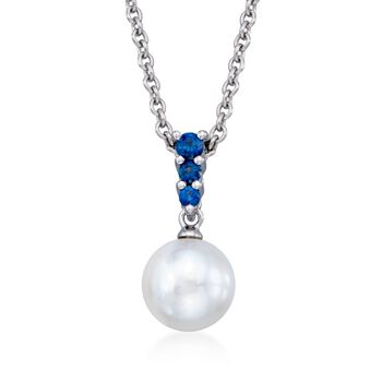 "Mikimoto 8mm 'A' Akoya Pearl and .22 ct. t.w. Sapphire Pendant Necklace in 18kt White Gold. 18"", , default"