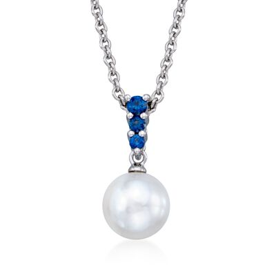 Mikimoto 8mm 'A' Akoya Pearl and .22 ct. t.w. Sapphire Pendant Necklace in 18kt White Gold, , default