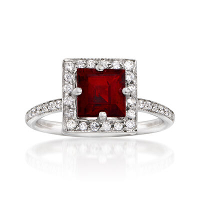 C. 1990 Vintage 1.60 Carat Garnet and .25 ct. t.w. Diamond Square Ring in 14kt White Gold, , default